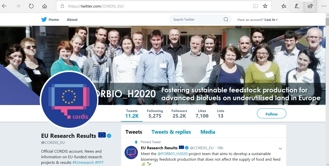 FORBIO Consortium photo was selected as the header picture of Cordis Twitter